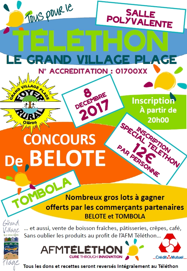 Foyer Rural Grand Village Plage : Téléthon concours de belote