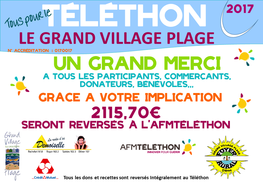 Foyer Rural Grand Village Plage : Téléthon