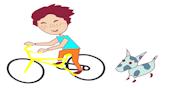 Il fait du vélo avec le chien