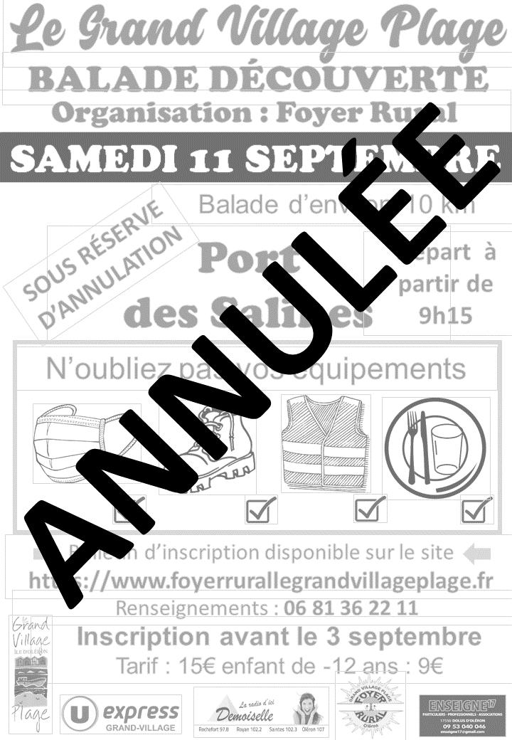 Affiche balade découverte septembre 2021 annulée