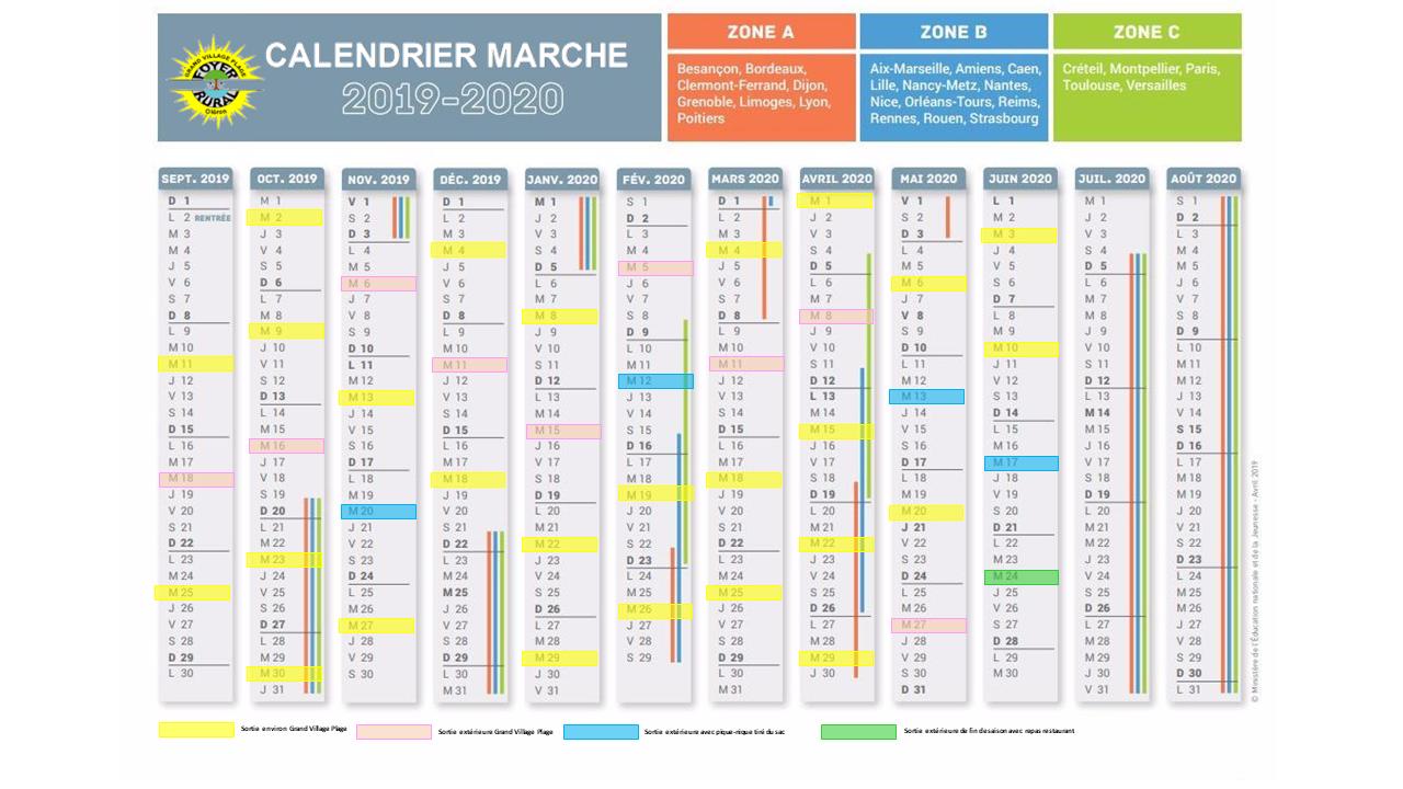 Calendrier marche 2019/2020