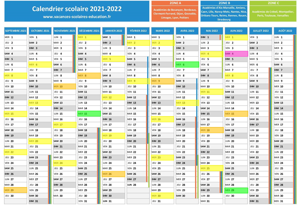 Calendrier sorties marche 2021/2022