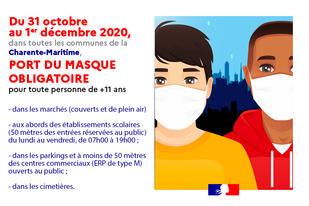 Image port du masque obligatoire Charente Maritime