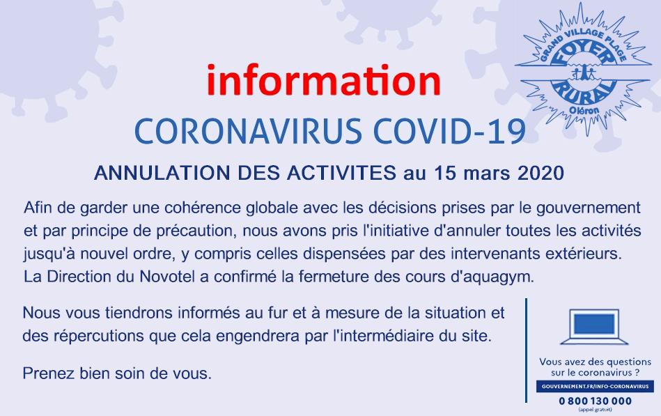 Information spéciale coronavirus